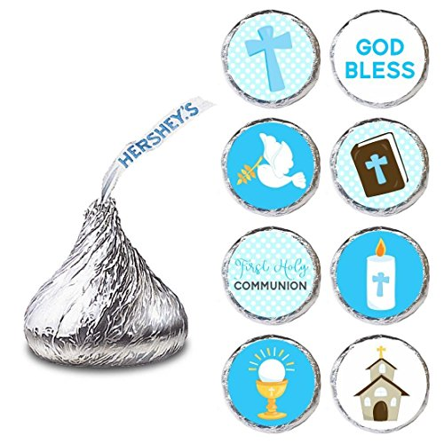 First Communion Candy (Boy First Holy Communion Label for HERSHEY'S KISSES® chocolates - Baptism Candy Sticker - Set of 240)