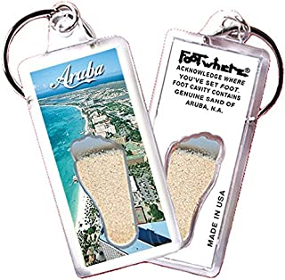 """product image for Aruba, N.A. """"FootWhere"""" Keychain (ARU101 - Seashore). Authentic Destination Souvenir acknowledging Where You've Set Foot. Genuine Soil of Featured Location encased Inside Foot Cavity. Made in USA"""
