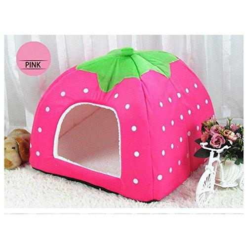 ufine-lovely-strawberry-pet-house-foldable-soft-cashmere-warm-pet-nest-dog-cat-bed-medium31-31-33cm-