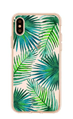Casery Case Designed for The Apple iPhone, Palm Leaves (Tropical Leaves) - Military Grade Protection - Drop Tested - Protective Slim Clear Case for Apple iPhone X/Xs ()