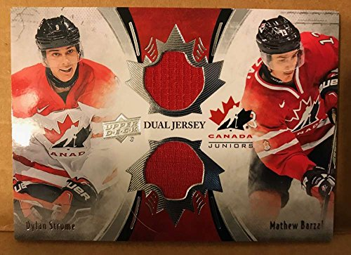 2016-17 Upper Deck Team Canada Juniors Hockey Material Duos Jersey Relics #TCD-BS Dylan Strome/Mathew Barzal - Junior Canada