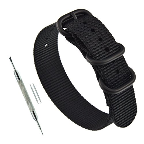 22mm Black Thick Zulu Nylon Watch Strap Band Replacement with Matte Black Buckle (Zulu Watch Strap)