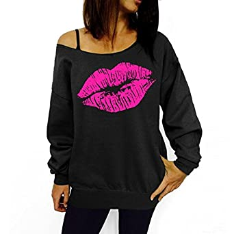 EDC-OnSale New Hot Women Sweatshirts Sexy Lip Print Sexy Off Shoulder Long-Sleeved