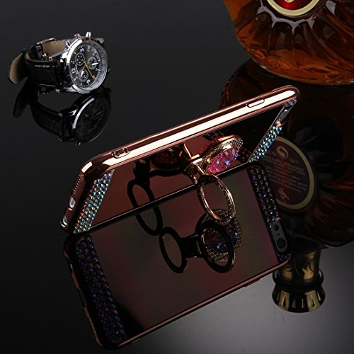 Phone Taschen & Schalen Für iPhone 6 Plus & 6s Plus Diamond verkrustete Galvanik Spiegel Schutzhülle Fall mit versteckten Ring Halter ( Color : Rose gold )