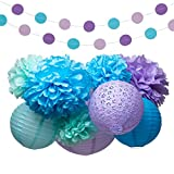 Mermaid Under the Sea Party Supplies Decorations Tissue Paper Pom Poms Lantern Garland Kit for Baby Shower Bridal Shower 16 Pcs