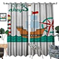 Warm Family Ahoy Its a Boy Window Curtain Drape Sail Boat on Sea Waves Lighthouse and Compass Anchor Icons Celebration Decorative Curtains for Living Room W72 x L96 Teal Brown Red