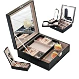 iiWolf Jewelry Storage Box Necklace Ring Organizer Leather Jewel Cabinet Gift Case Travel Mirrored Watch Black