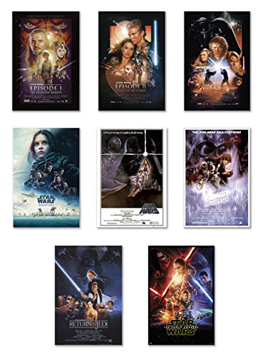 Star Wars: Episode I, II, III, IV, V, VI, VII & Rogue One - Movie Poster Set (8 Individual Full Size Movie Posters) (Size: 27