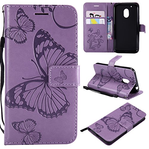 Price comparison product image ARSUE Moto G4 Play Case, Moto G4 Play Wallet Case, Leather Folio Flip PU Phone Protective Case Cover with Card Holder & Kickstand for Motorola G4 Play / G Play (Not for G4 Plus), Butterfly Light Purple