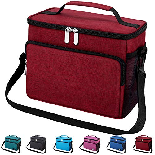 Leakproof Reusable Insulated Cooler Lunch Bag - Office Work School Picnic Hiking Beach Lunch Box Organizer with Adjustable Shoulder Strap for Women,Men and Kids-Wine Red