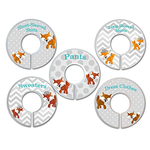 CLOSET DIVIDERS Mr. Fox in Orange, Grey and Blue CLOTHING LABELS Bedroom and Baby Nursery Art Decor CD00171