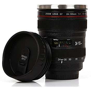 Mango Spot Best Camera Lens Thermos Stainless Steel Cup/ Mug for Coffee or Tea, Black with Thumb Slider Lid