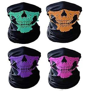 Tioamy Pasamontañas de Calavera Ciclismo Máscaras de Media Cara Transpirable Esqueleto Tubo máscaras para Moto Piscina equitación y por Hallowmas