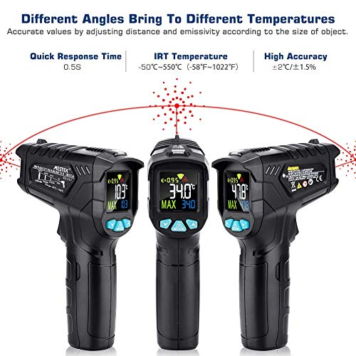 Infrared Thermometer, Non-Contact Digital Laser IR Thermometer Gun -58℉~716℉(-50℃~380℃) Adjustable Emissivity Instant-Read for Kitchen/Cooking/Automotive/Industrial with HD Backlight Color Display by YOUTHINK (Image #1)