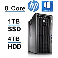 HP Z800 Workstation (Intel QUAD CORE Xeon 3.33GHz Processor, 1TB SSD, 4Tb HDD, 48GB RAM, USB 3.0, Windows 10 Pro OS) Black (Certified Refurbished)