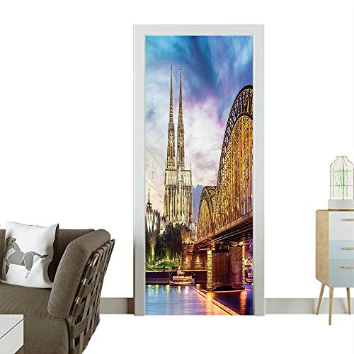 Door Sticker Wallpaper Illum ated Dom Cologne Old Rh at Sunset European Culture Multicolor Fashion and Various patternW30 x H80 INCH