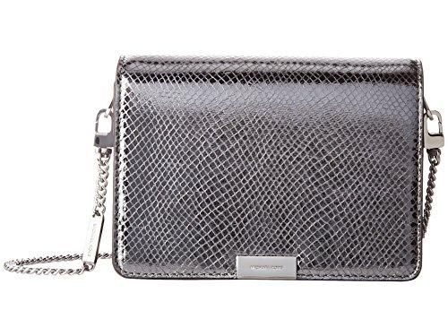a7b70c700de6 Michael Kors Jade Medium Gusset Snake Skin Embossed Leather Clutch Crossbody  Handbag in Light Pewter