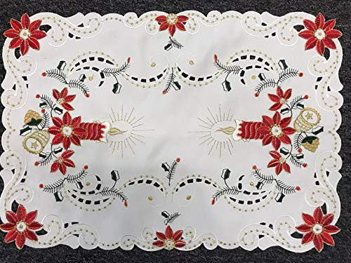 Mikash 12 Pieces Christmas Embroidered Cutwork Embroidery Placemat Table Mat 14x20 509 | Model TBLCLTH - 1012