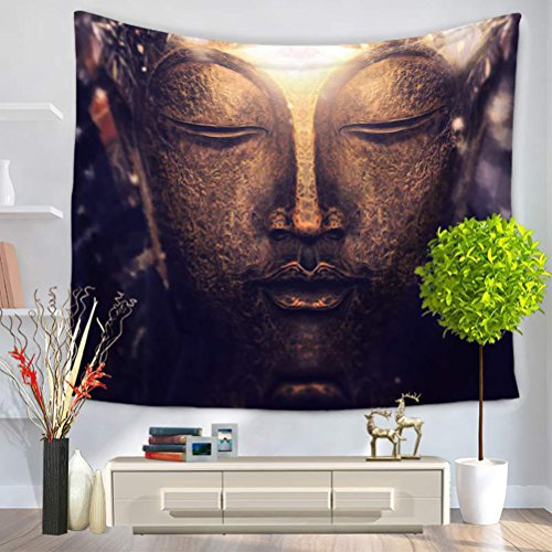 LANGUGU Asian Tapestry,Buddhism Decorations Collection,Buddha Head Statue Picture,59 W X 51 L Inches?Wall Hanging for Bedroom Living Room Dorm ()