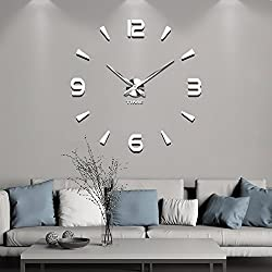Vangold Large 3D DIY Wall Clock Roman Numerals Clock Frameless Mirror Surface Wall Sticker Home Decor for Living Room Bedroom (2-Year Warranty) (Silver-73)