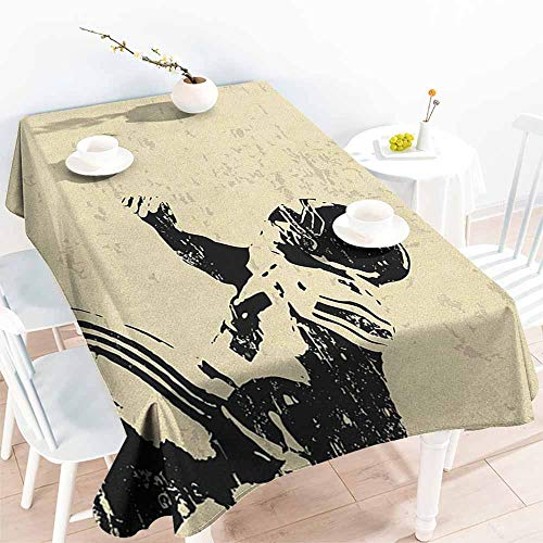 EwaskyOnline Resistant Table Cover,Sports Rugby Player in Action Running Success in Arena Playground Sport Best Team Picture,Fashions Rectangular,W50x80L, Beige Black