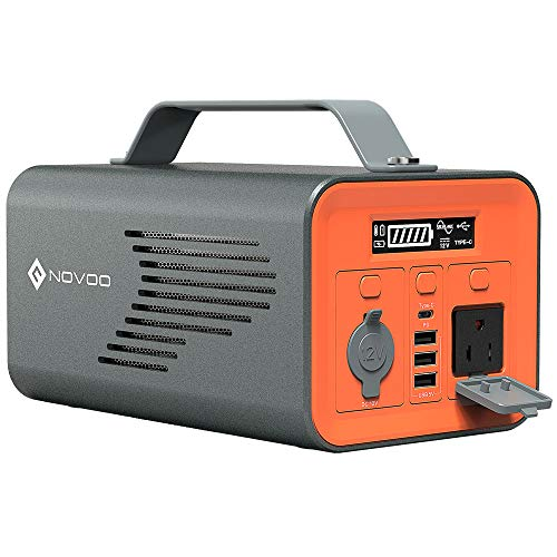 NOVOO Portable Power Station, 230Wh Backup 62400mAh Lithium Battery Power Supply, 110V 200W Pure Sine Wave AC Outlet,DC USB Ports Outdoors Generator Solar Optional for Camping Travel Emergency CPAP