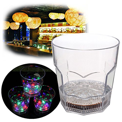 Colorful Flash LED Whiskey Cup Plastic Wine Cup Beer Mug Octagon cup