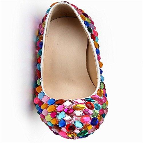 LIVY la de baja fijadas cabeza talones high la A color cuero discoteca manera nuevo boda zapatos 2017 la pies de de redonda de los super de diamantes boca de de tw6z1rtFq