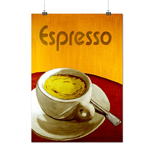 Espresso Painting Coffee Cup Matte/Glossy Poster A1 (24x33 inches) | Wellcoda (Spoon Long Sleeve T-shirt)