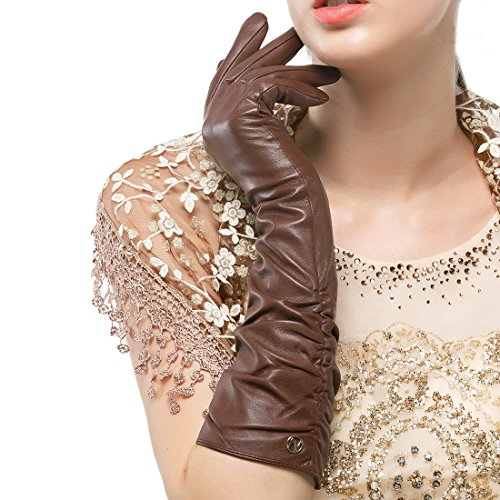 Nappaglo Women's Winter Long Leather Gloves Genuine Nappa Leather Touchscreen Ruched Elbow Party Mittens (L (Palm Girth:7.5