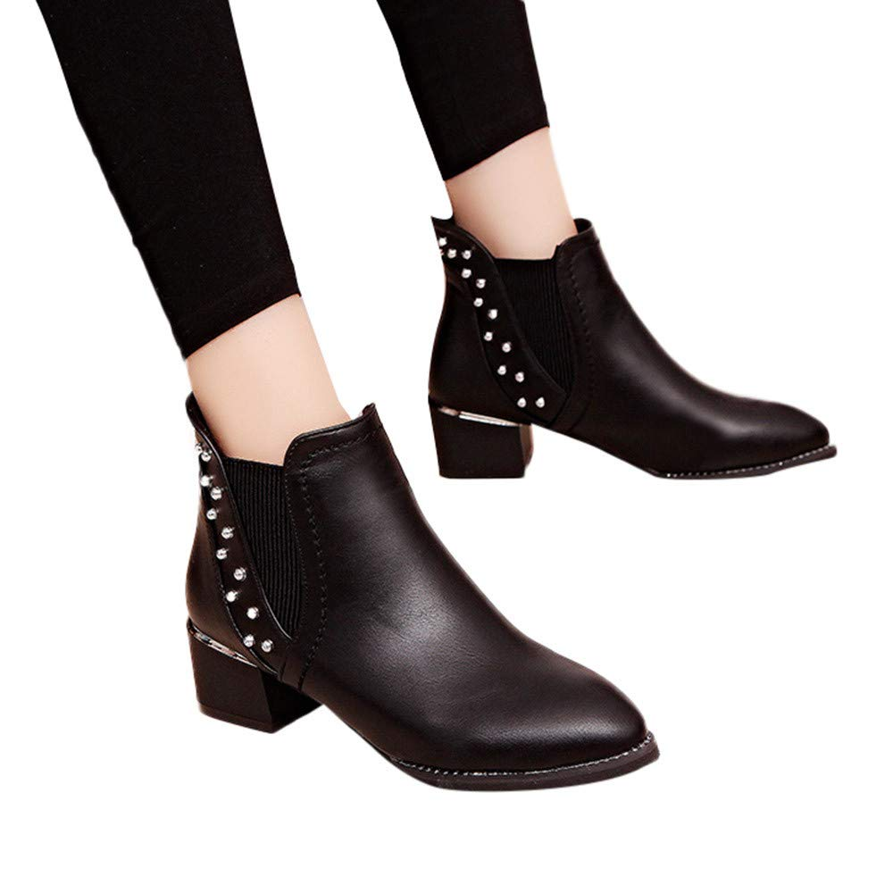 4e397515780 Women s Fashion Rivets Shoes Pointed-Toe Flat Non-Slip Leather Martin  Booties at Amazon Women s Clothing store