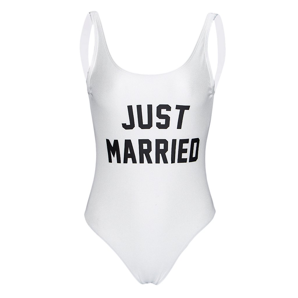 Prettyia Black White Bride Just Married Monokini Swimsuit Bodysuit Wedding Hens Night Party Bachelorette Bathingsuit - White, L