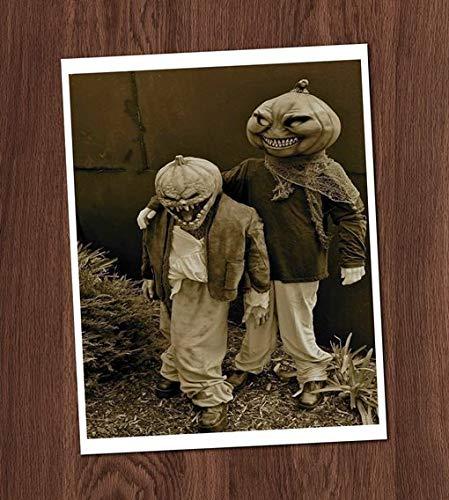 (Creepy Kids Friends Pumpkin Masks Photo Vintage Art Print 8x10 Wall Art Jack o Lantern Halloween Costumes )