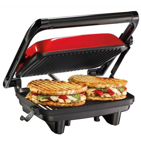 Hamilton Beach Panini Press Gourmet Sandwich Maker, Red, 254