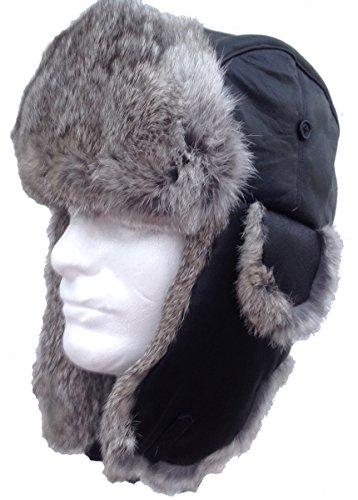 (Bombardier Hat - Black Sheepskin and Silver Rabbit Fur - Trooper Aviator)
