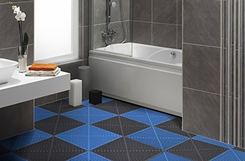IncStores Soft Flex Floor Tiles 12 Pack (12in x 12in) For Showers, Locker Rooms & Drainage for Wet Areas (Charcoal)