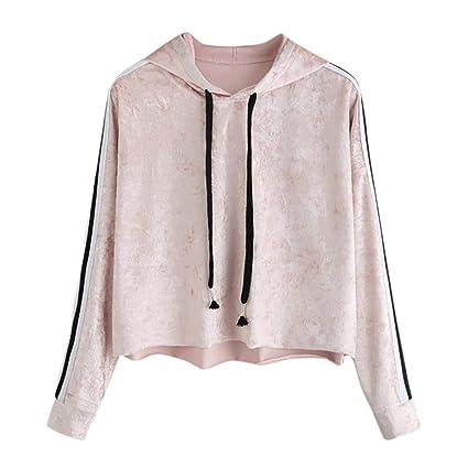 2c3b21783ad Amazon.com  clearance sale Womens Winter Velvet Sweatshirt Tops Striped Long  Sleeve Hoodie Sport Hooded Pullover Tops Blouse (M