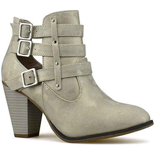 Women's Premier Champagne Strap Heel Premier Ankle Booties Block Buckle Standard 47qO75
