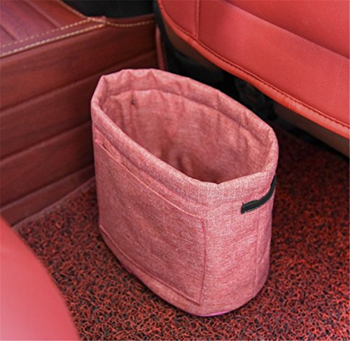 Fochutech Car Auto Garbage Trash Can Litter Bag Automotive Waste Storage Office Home Rubbish Bin For Vehicle Door Collapsible Traveling (Rose red) by Fochutech
