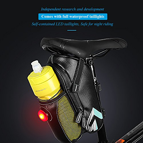 Bike Saddle Bag, MTB Rear Light Rear Seat Bag - Road Bike Waterproof Cushion Bag - Polyester Saddle Bag with Pocket Water Bottle - Bicycle Seat Back Pocket Repair Tool Pocket Bag by Roswheel (Image #3)