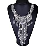 Girl Era Womens Vintage Costume Jewelry Tribal Necklace Long Tassels Chain Unique Pendant Necklace(white)
