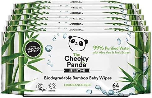 The Cheeky Panda Biodegradable Bamboo Baby Wipes Pack of 6