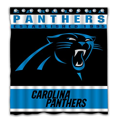 Potteroy Carolina Panthers Team Design Shower Curtain Waterproof Polyester Fabric 66x72 Inches