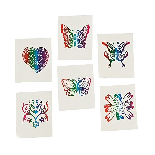 Fun Central AZ961, 72 Pcs, Assorted Kids Rainbow Glitter Temporary Tattoos, Temporary Tattoos for Kids, Rainbow Temporary Tattoos, Kids Temporary Tattoos