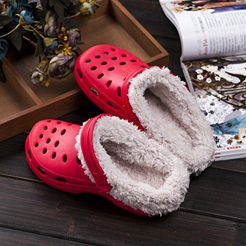 Slip Warm Garden Autumn mesh Shoes Red On Adjustable Rainoop Winter Fashion Women Breathable Slippers Strap UYq4wFv