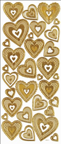 Hot Off The Press Dazzles Stickers: 3-D Hearts Gold