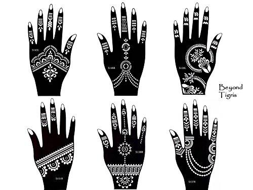 Tattoo Stencil 6pezzi set Henna Designs per le mani per uso singolo Set Tigris 6 Beyond 4336952460