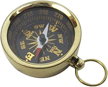 Pocket Compass for Hiking Handmade Brass Push Open Compass with Rose Wood Case