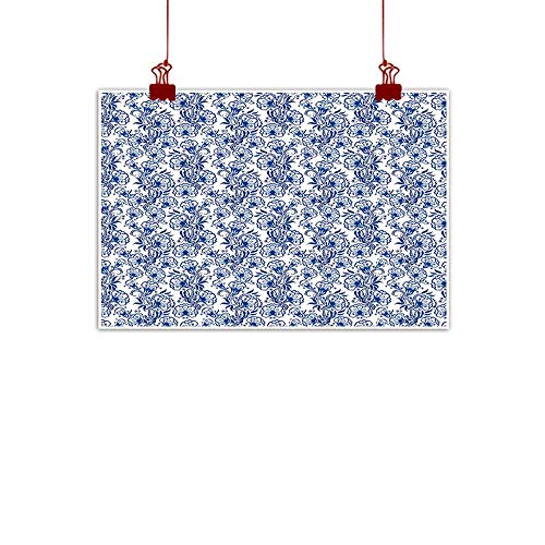 Mangooly Fabric Cloth Rolled Blue,Delicate Spring Season Themed Floral Pattern in Traditional Russian Gzhel Style,Cobalt Blue White 24