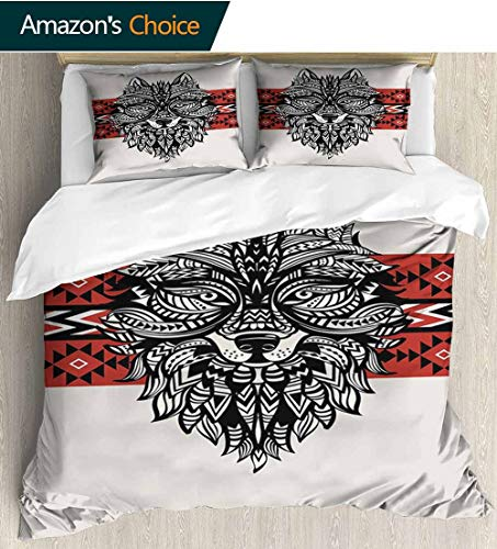- Wolf Home 3 Piece Print Quilt Set,Tattoo Style Totem Style Animal Face with Swirls Geometric Triangle Motifs with 2 Pillowcase for Kids Bedding 104